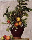 Henri Fantin-Latour Vase with Apples and Foliage painting